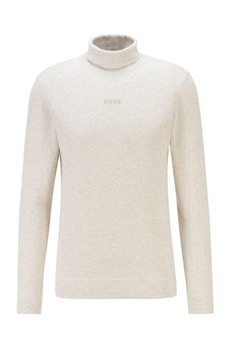 T-shirt van gestructureerde gemêleerde katoen met logostiksel en hoge hals, Wit
