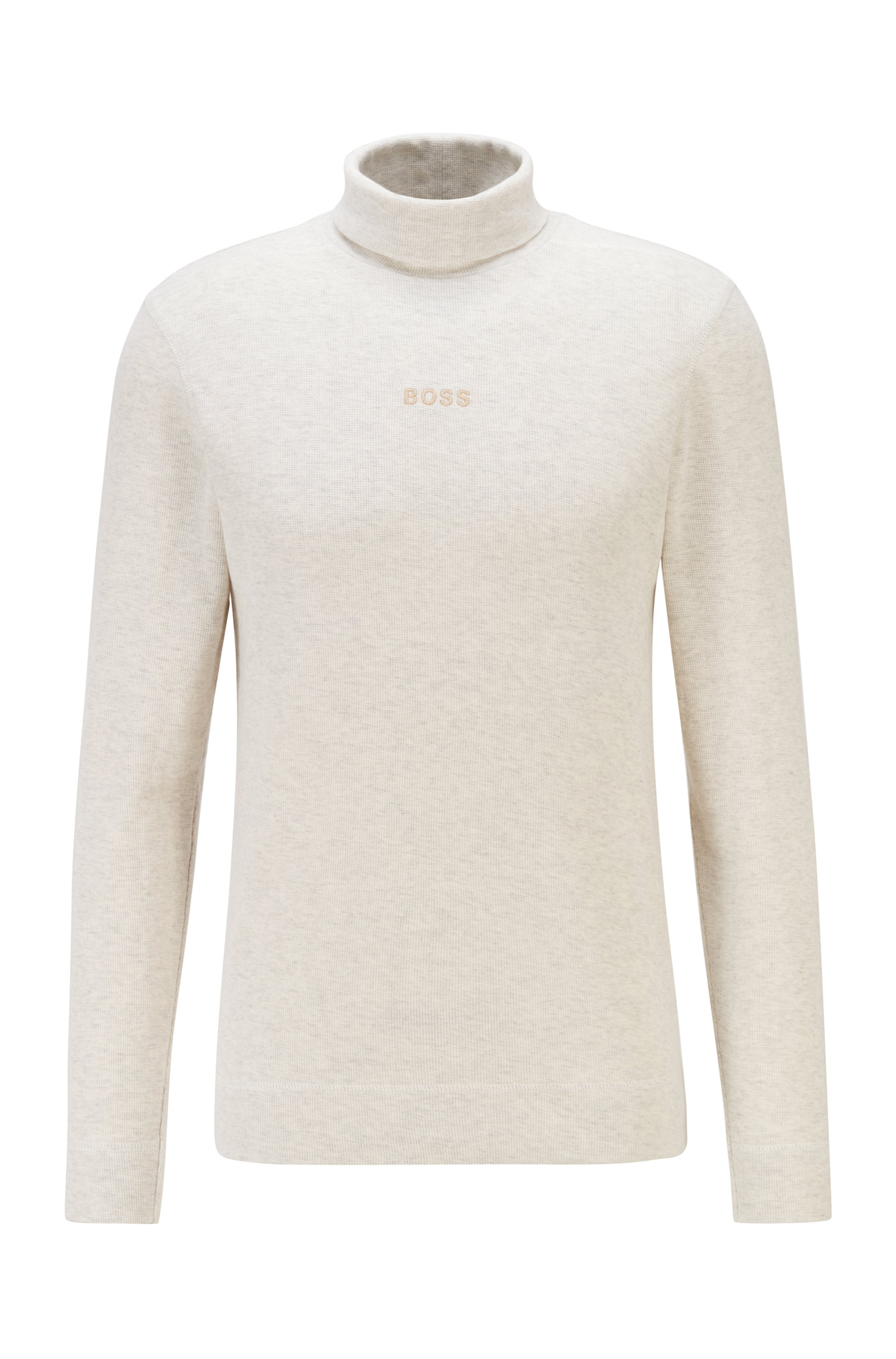 Logo-embroidered high-neck T-shirt in structured melange cotton, White