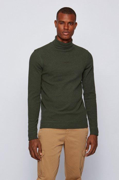 Logo-embroidered high-neck T-shirt in structured melange cotton, Light Green