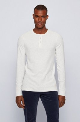 Heathered waffle-cotton T-shirt with logo embroidery, White
