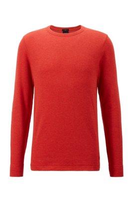 Waffle-cotton T-shirt with logo embroidery, Dark Orange