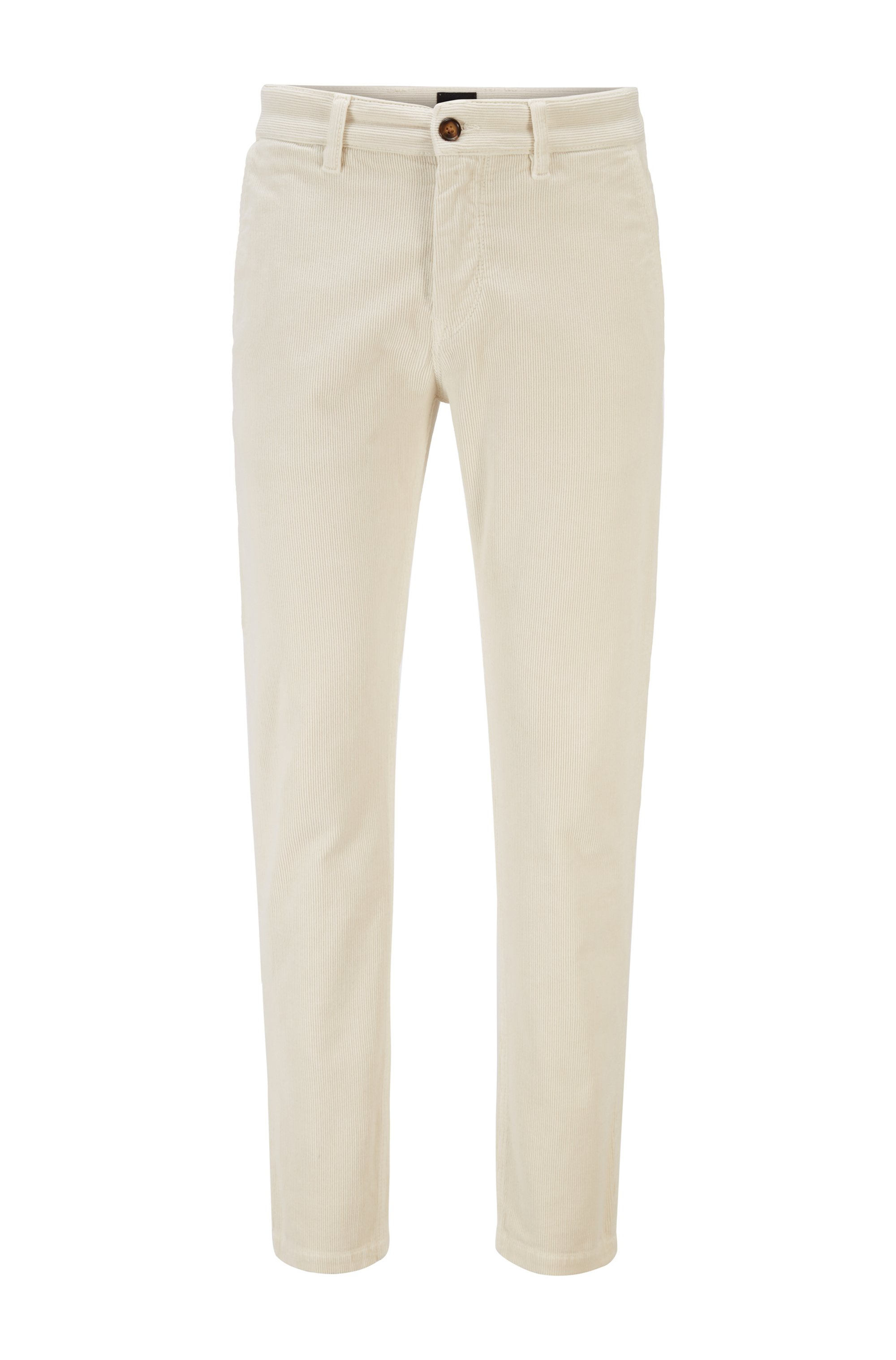 Tapered-fit trousers in stretch-cotton corduroy, White