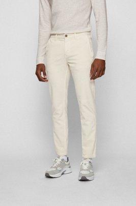 Pantalon Tapered Fit en velours côtelé de coton stretch, Blanc