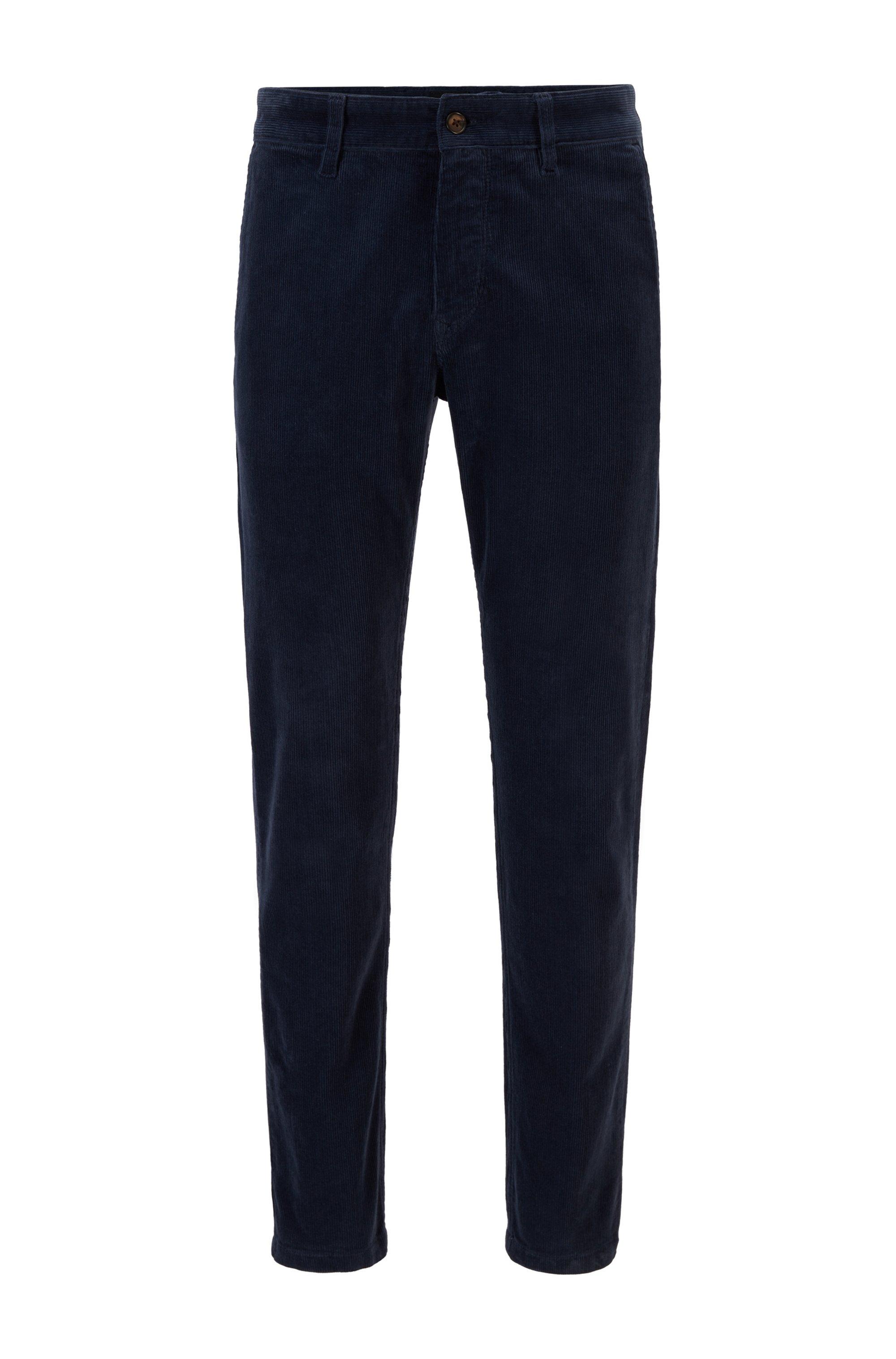 Pantalon Tapered Fit en velours côtelé de coton stretch, Bleu foncé