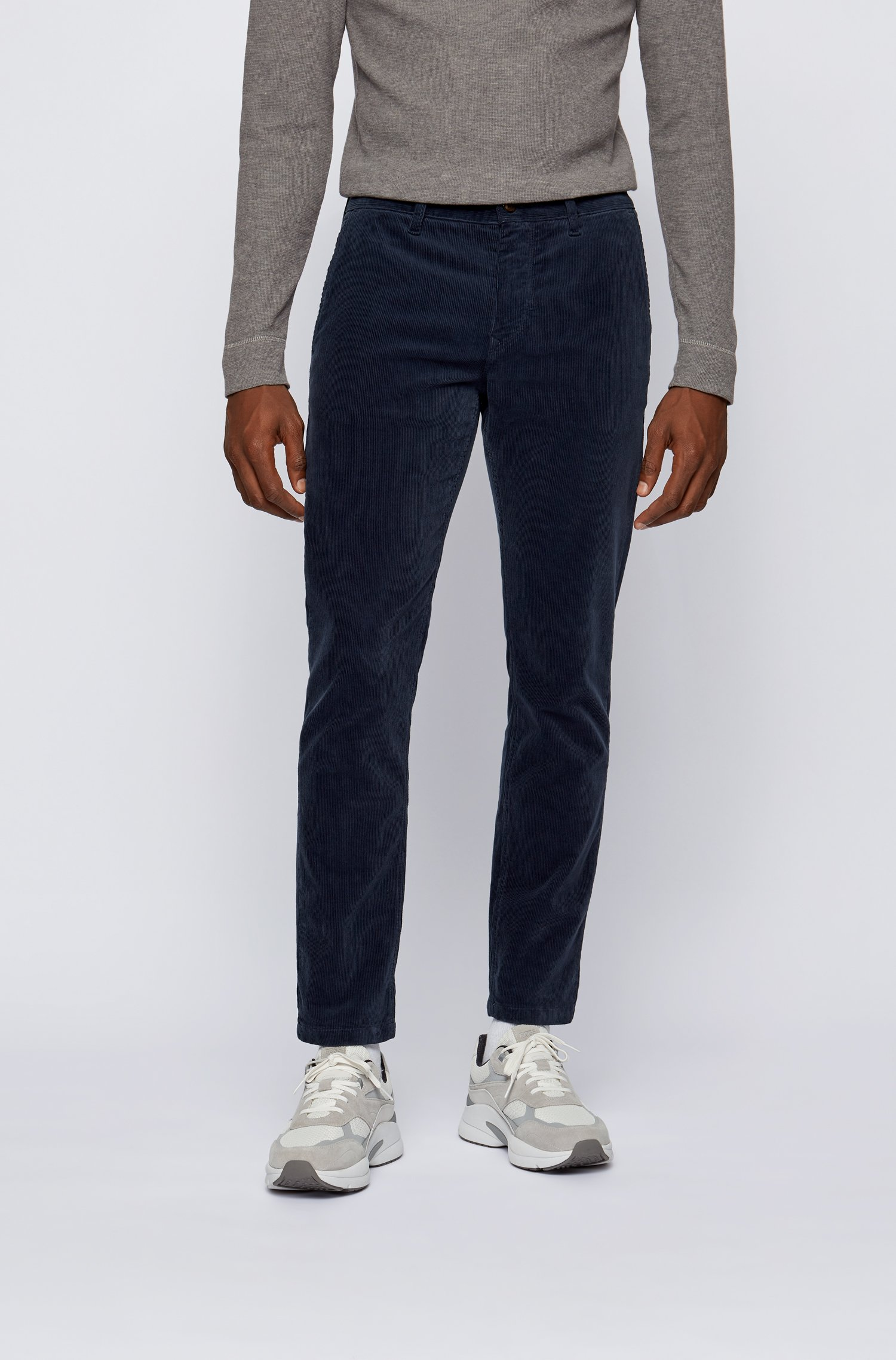 Tapered-fit trousers in stretch-cotton corduroy, Dark Blue