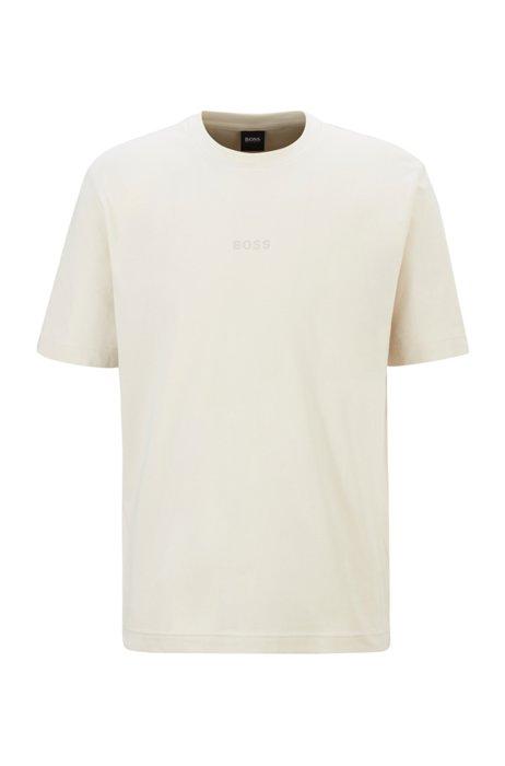 T-shirt van stretchkatoen met gerubberd logoborduursel, Wit