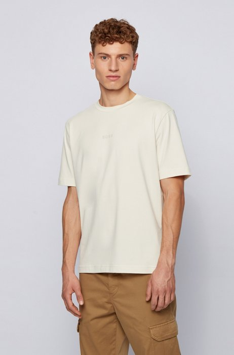 Stretch-cotton T-shirt with rubberised logo embroidery, White