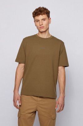 Stretch-cotton T-shirt with rubberised logo embroidery, Khaki