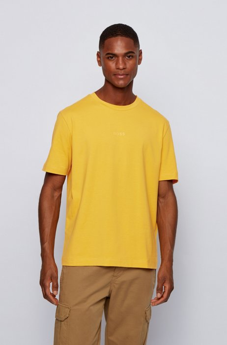 Stretch-cotton T-shirt with rubberised logo embroidery, Yellow