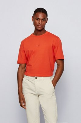 Stretch-cotton T-shirt with rubberised logo embroidery, Orange