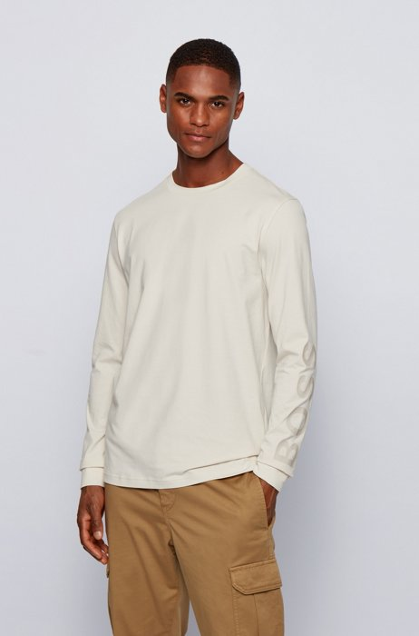 Stretch-cotton T-shirt with logo-print sleeves, White