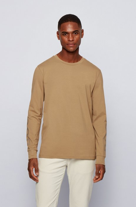 Stretch-cotton T-shirt with logo-print sleeves, Beige