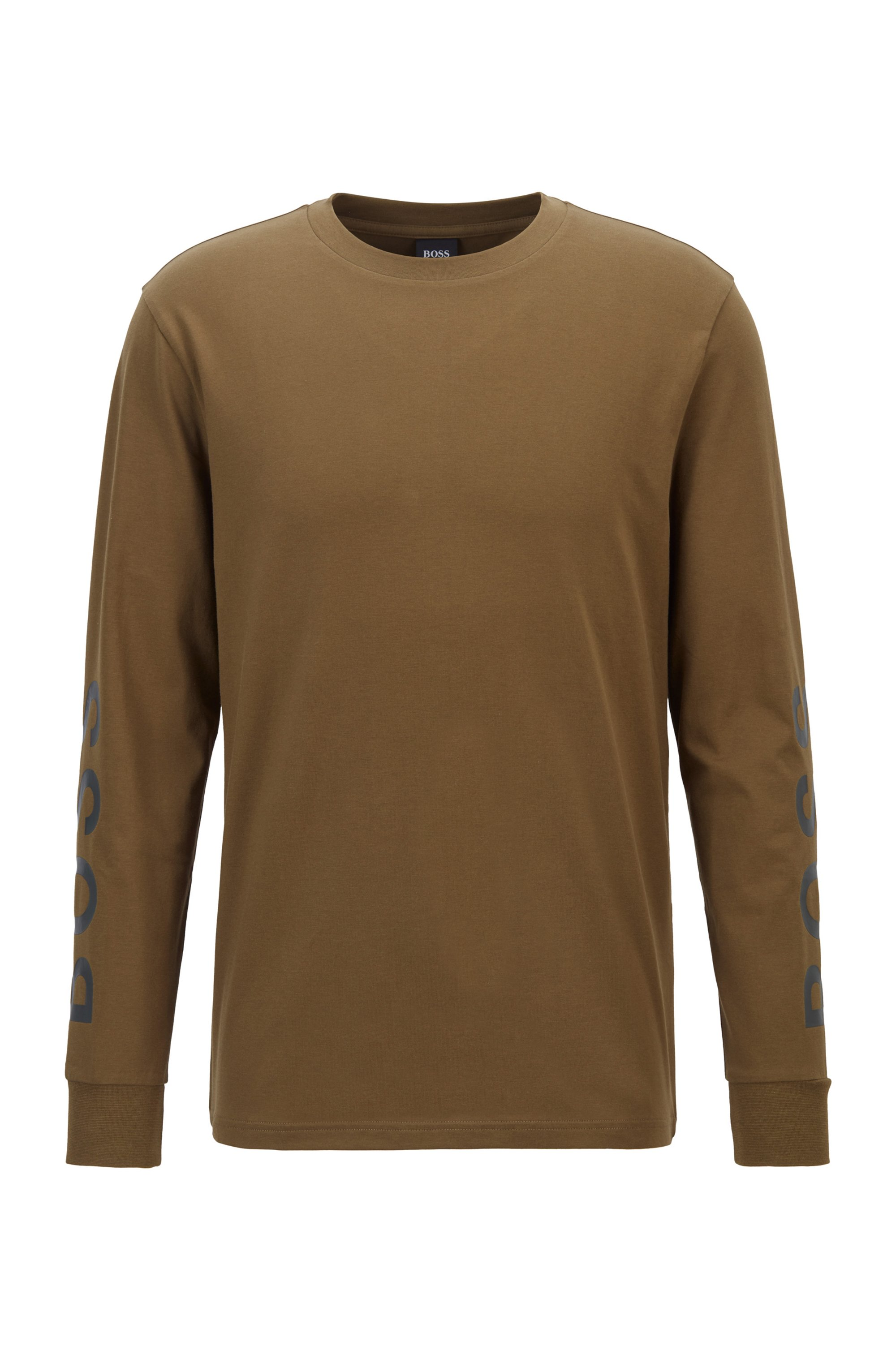 Stretch-cotton T-shirt with logo-print sleeves, Khaki