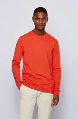 Stretch-cotton T-shirt with logo-print sleeves, Dark Orange