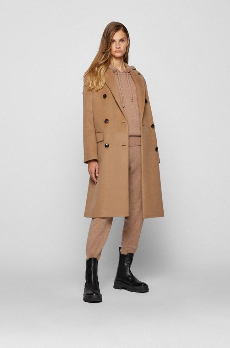 Double-breasted coat in alpaca and virgin wool, Light Brown