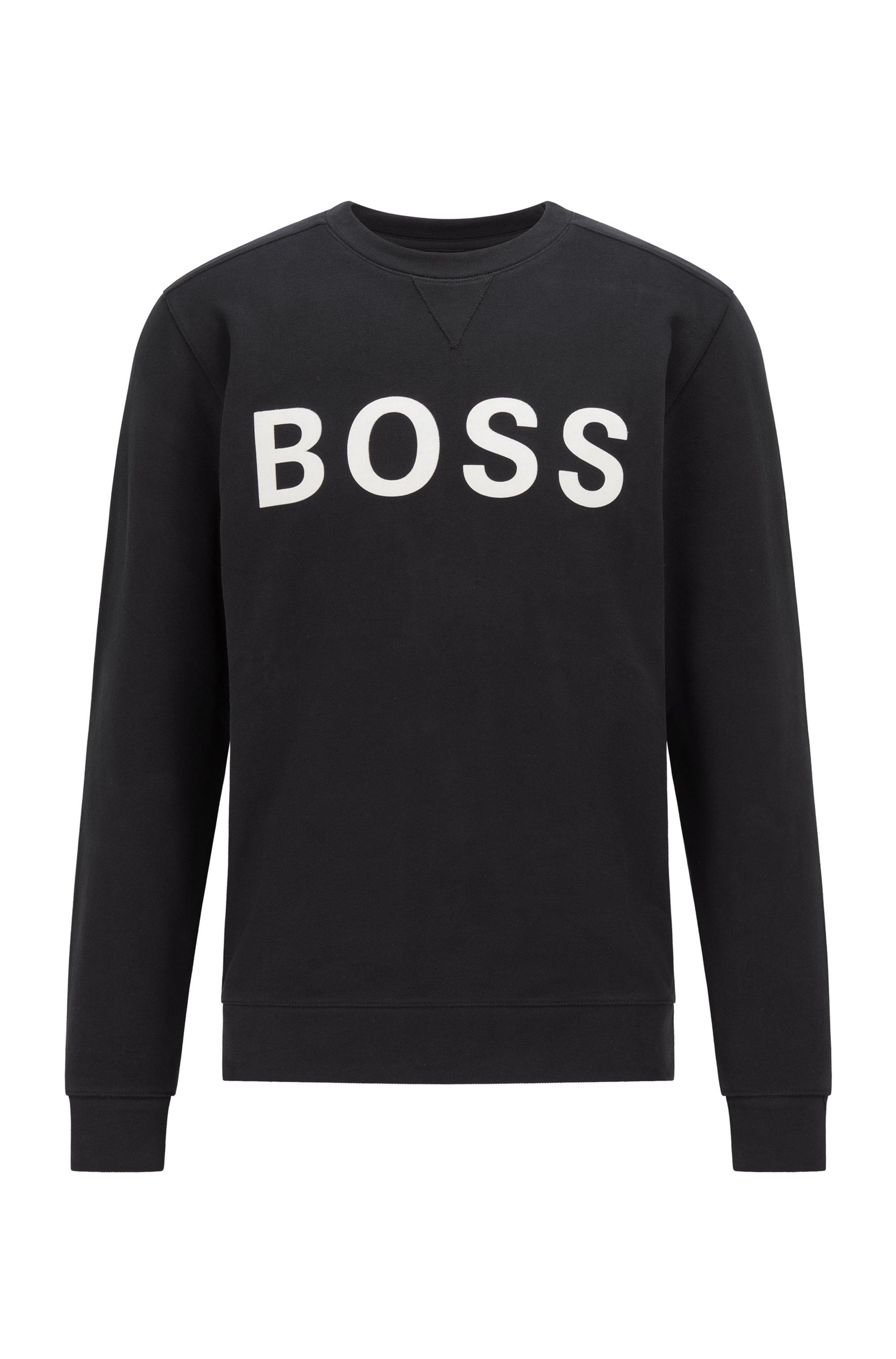 Cotton-blend sweatshirt with flock-print logo, Black