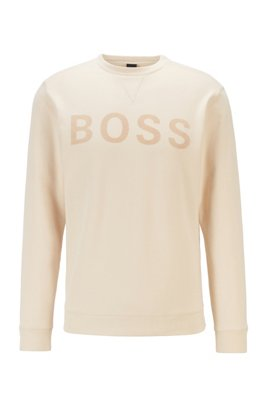 Cotton-blend sweatshirt with flock-print logo, White