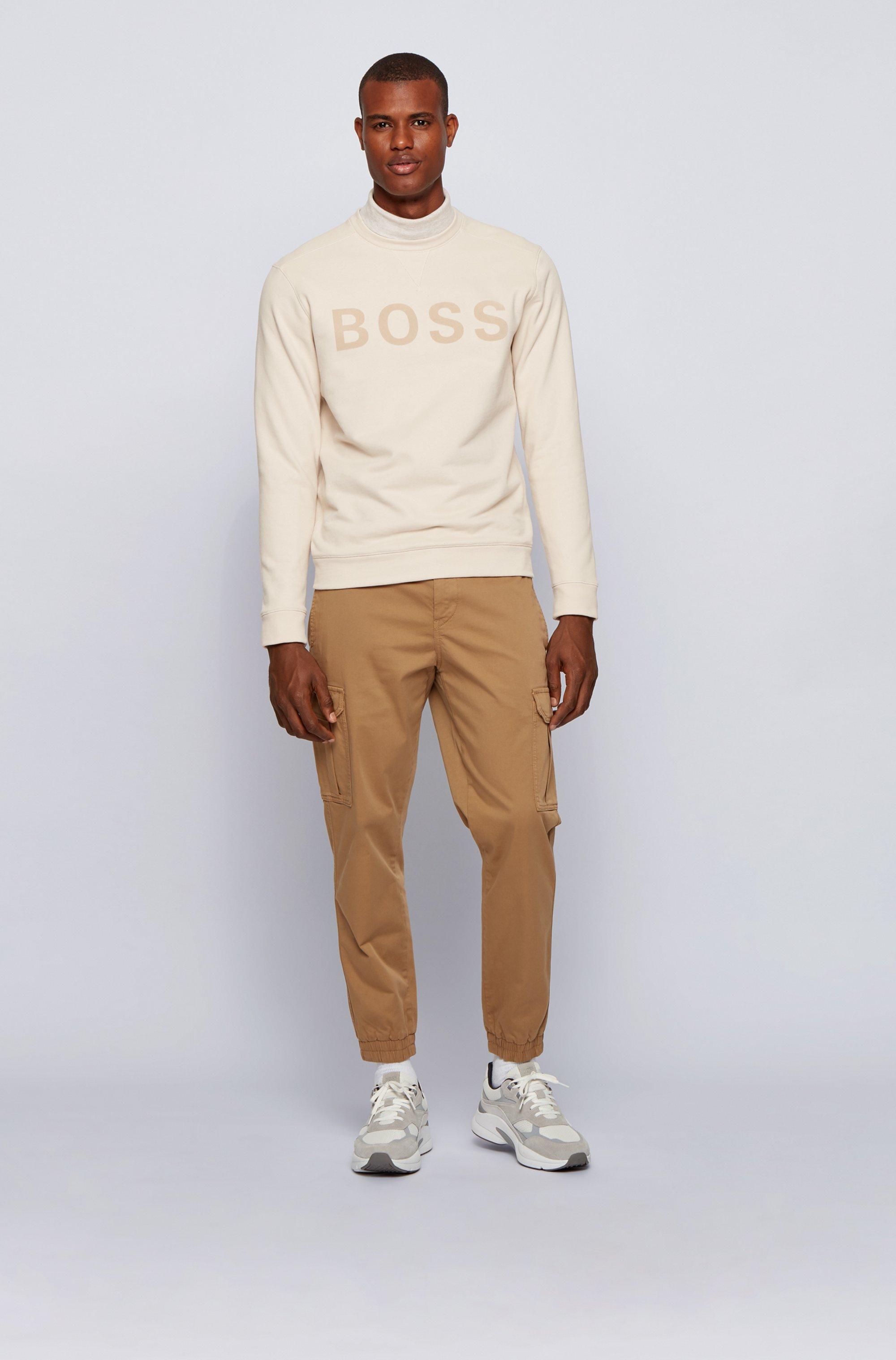 Cotton-blend sweatshirt with flock-print logo