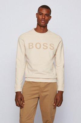 Sweatshirt aus Baumwoll-Mix mit Logo-Flockdruck, Weiß