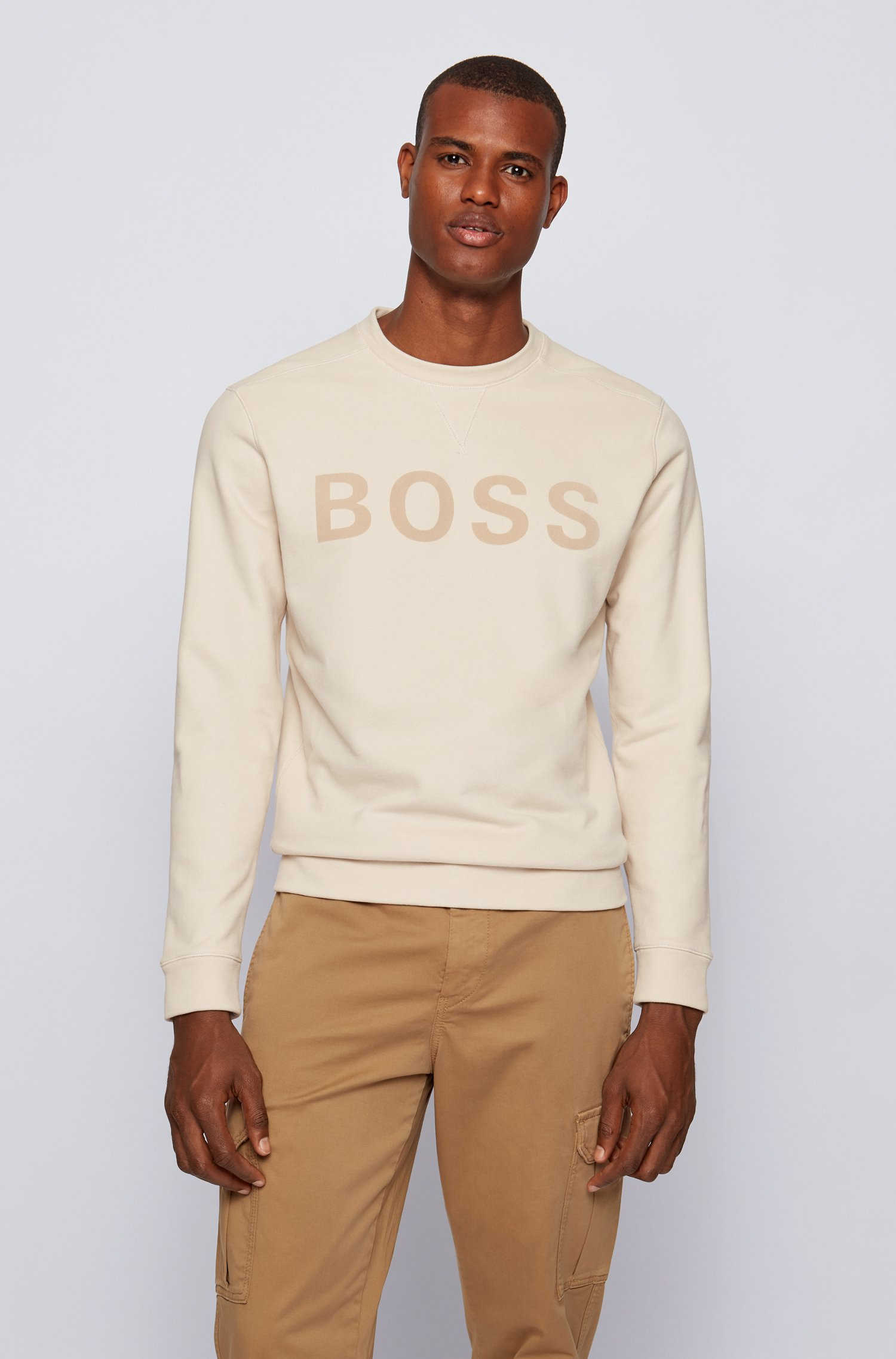 Cotton-blend sweatshirt with flock-print logo, White