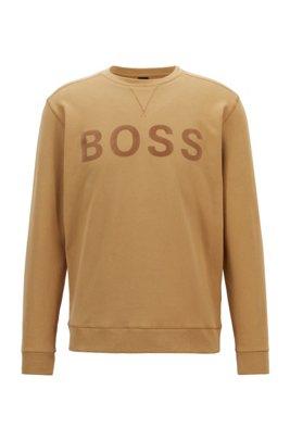 Cotton-blend sweatshirt with flock-print logo, Beige