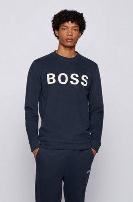 Cotton-blend sweatshirt with flock-print logo, Dark Blue