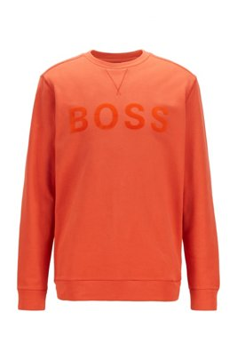 Cotton-blend sweatshirt with flock-print logo, Dark Orange