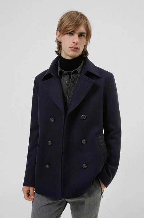 Double-breasted coat in a wool blend, Dark Blue
