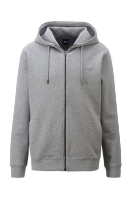 Cotton-blend jacket in interlock jersey with embroidered logo, Grey