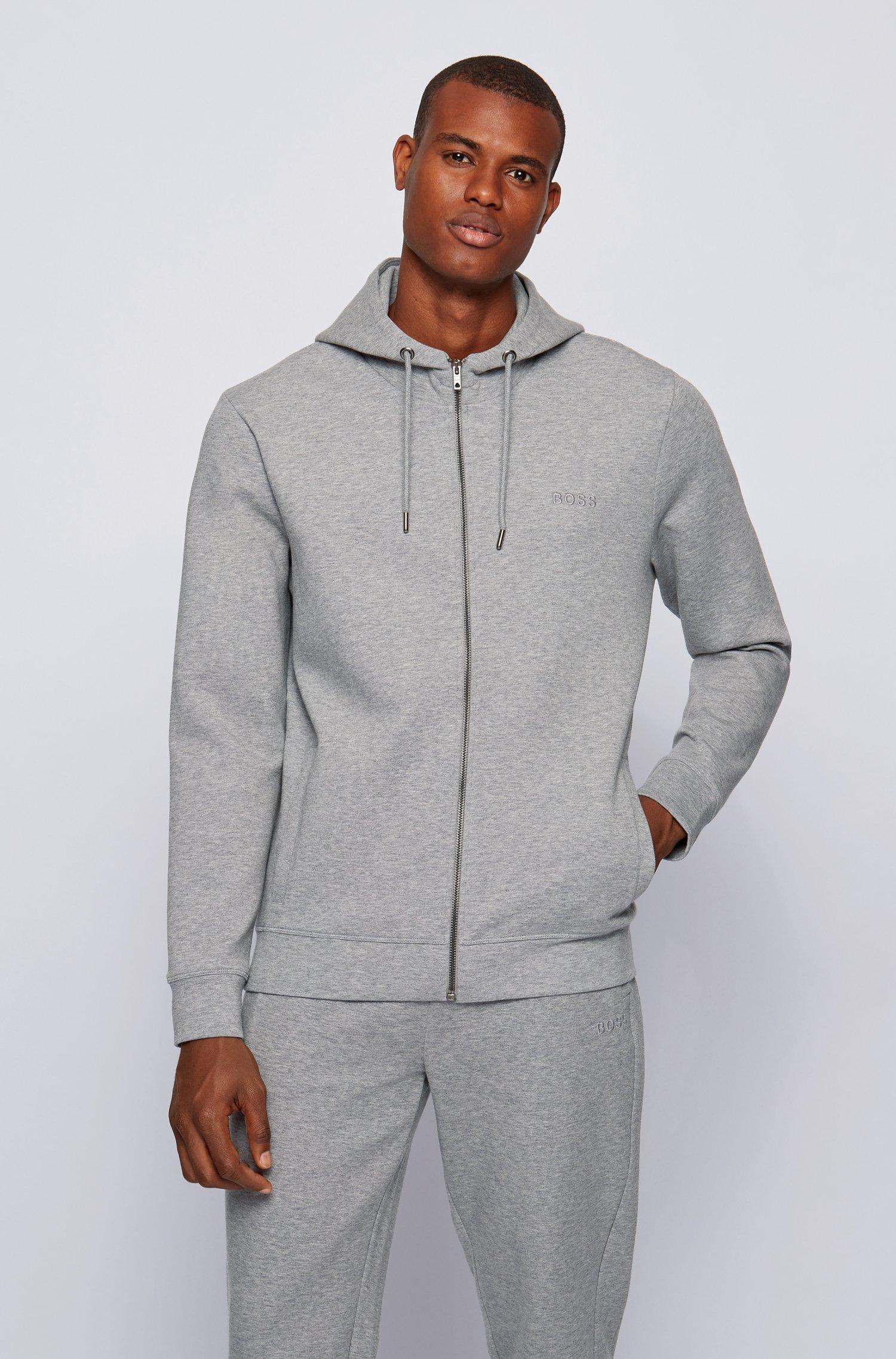 Veste en jersey interlock de coton mélangé, avec logo brodé, Gris