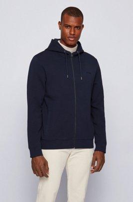 Cotton-blend jacket in interlock jersey with embroidered logo, Dark Blue
