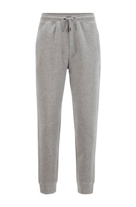 Cotton-blend interlock jersey tracksuit bottoms with embroidered logo, Grey
