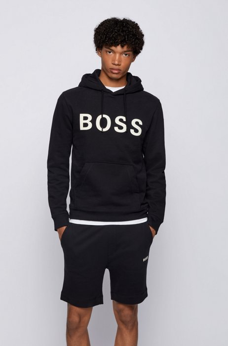Hooded logo sweatshirt in cotton-blend French terry, Black