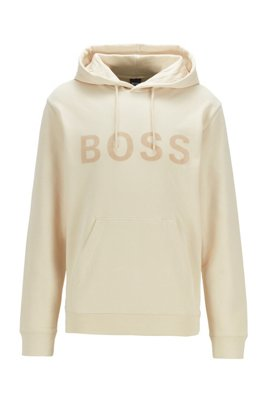 Hooded logo sweatshirt in cotton-blend French terry, White