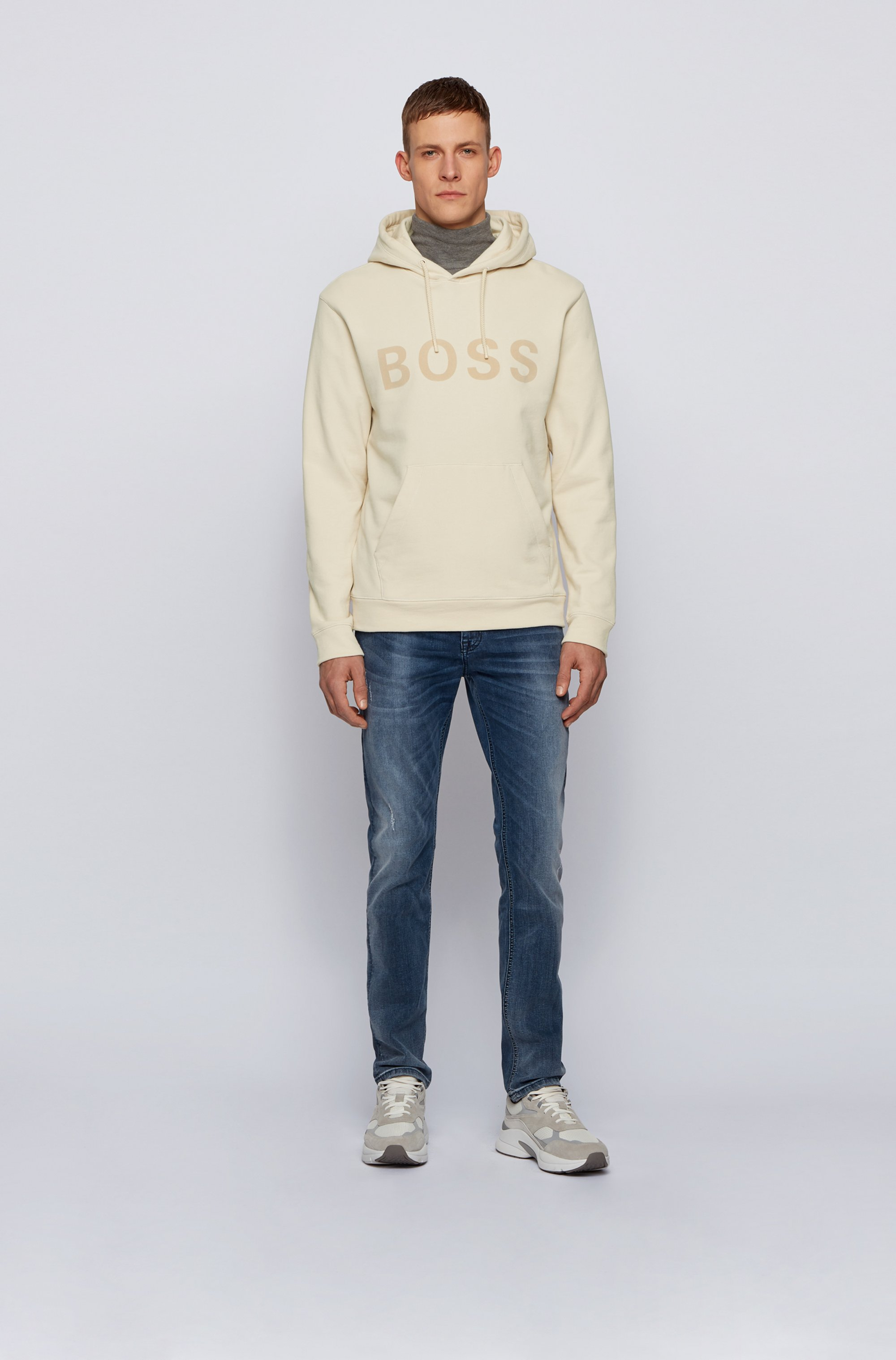 Hooded logo sweatshirt in cotton-blend French terry