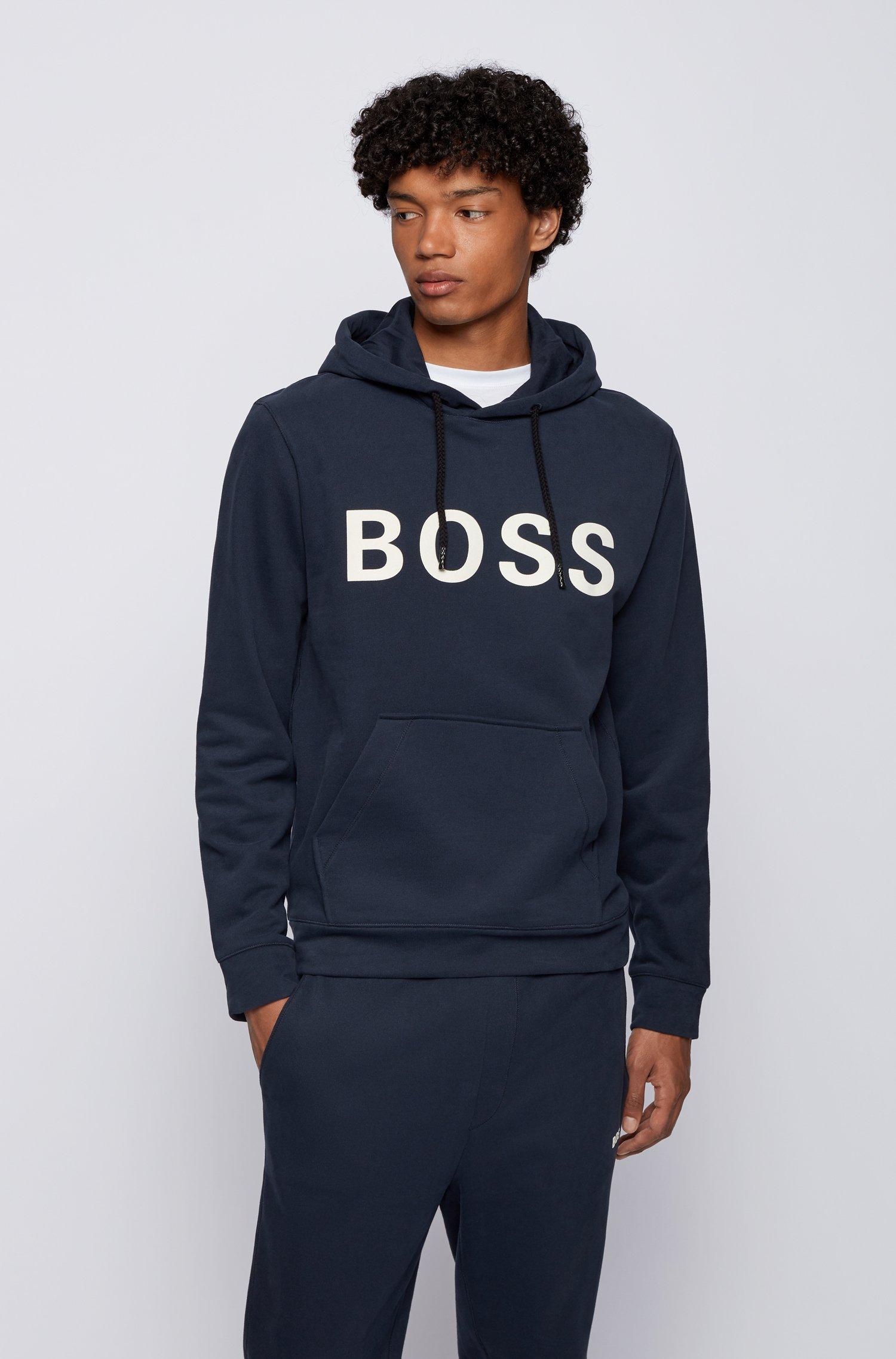 Hooded logo sweatshirt in cotton-blend French terry, Dark Blue
