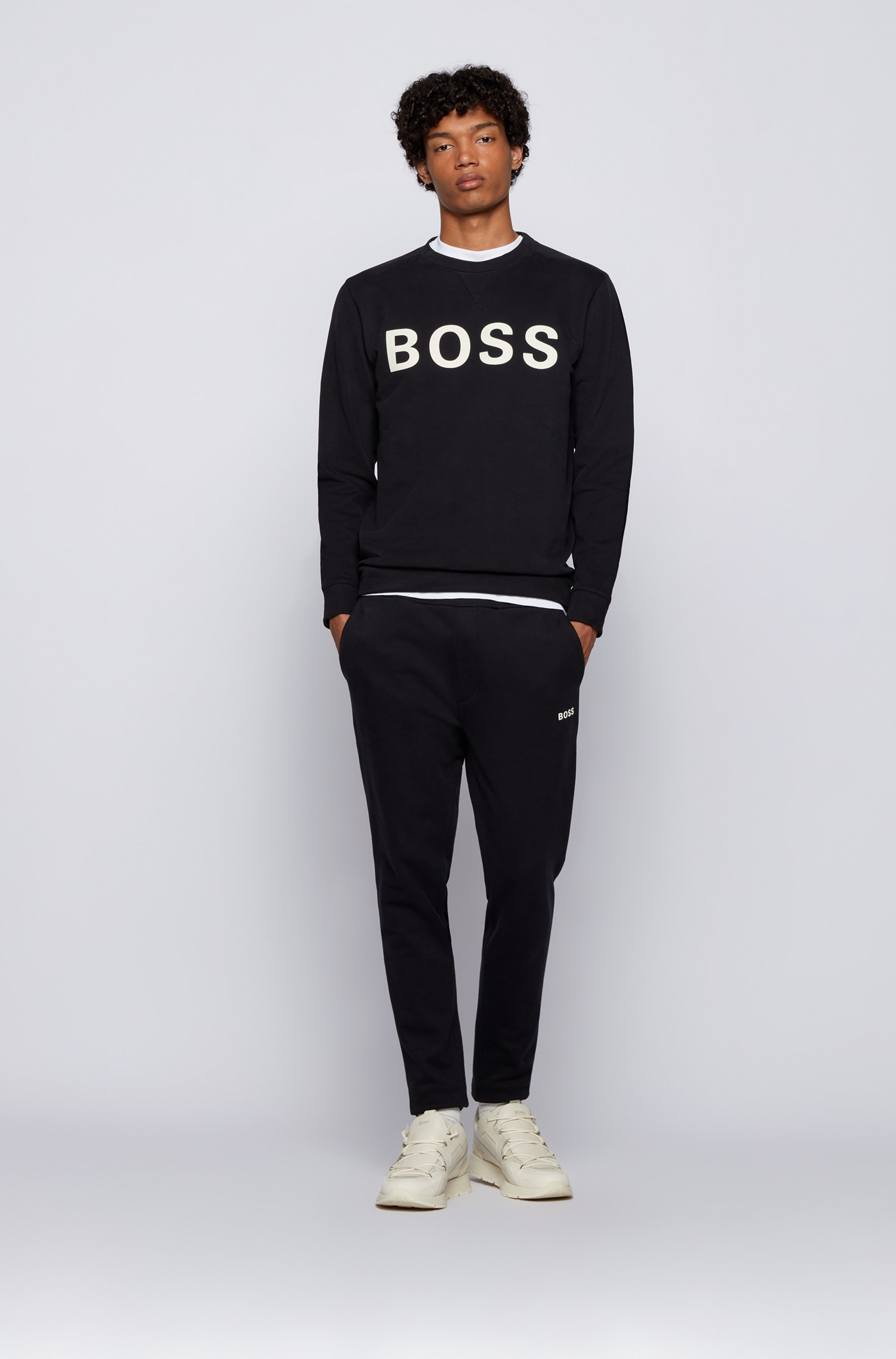 Logo tracksuit bottoms in cotton-blend French terry