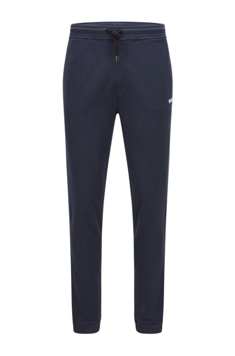 Logo tracksuit bottoms in cotton-blend French terry, Dark Blue