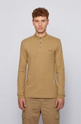 Long-sleeved slim-fit polo shirt with logo embroidery, Beige