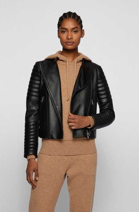 Regular-fit biker jacket in leather with padded details, Black