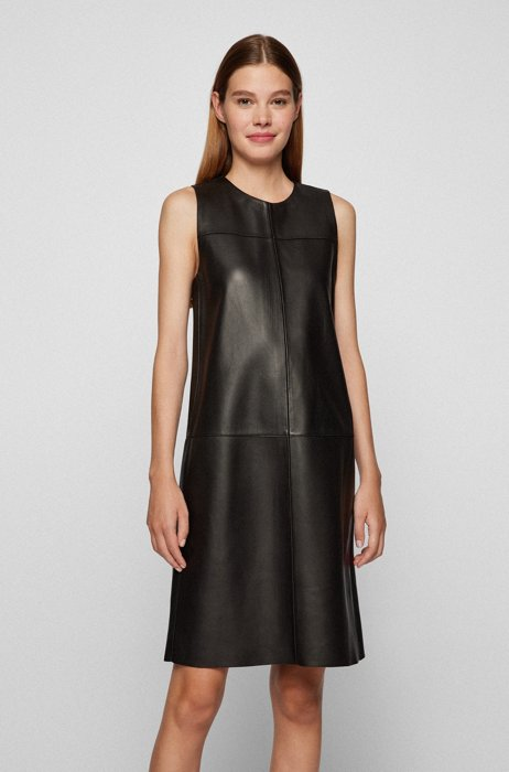 Sleeveless shift dress in bonded nappa leather, Black