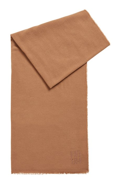 Wool-cashmere scarf with embroidered monogram, Light Brown