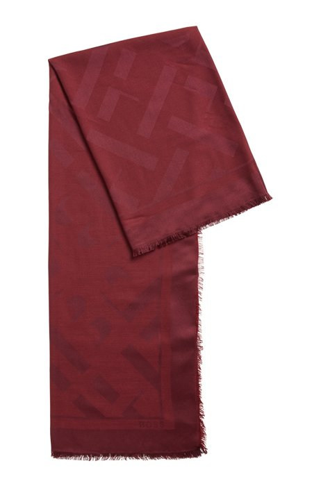 Square scarf with jacquard-woven monograms, Dark Red