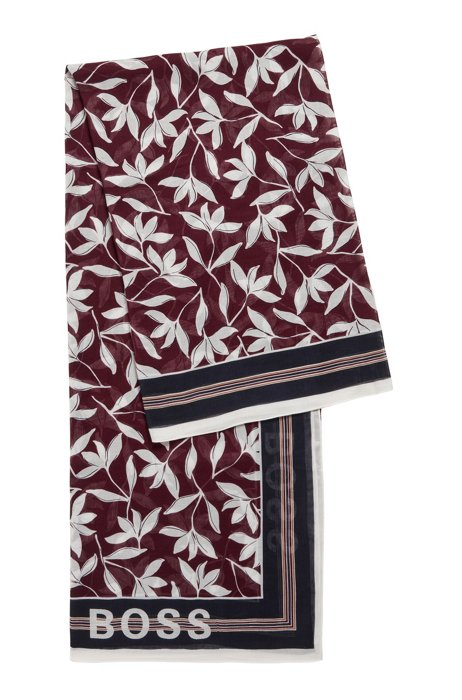 Collection-print scarf in cotton and modal, Patterned