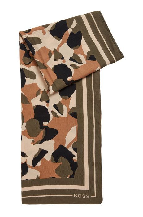 Printed scarf in cotton and modal, Patterned