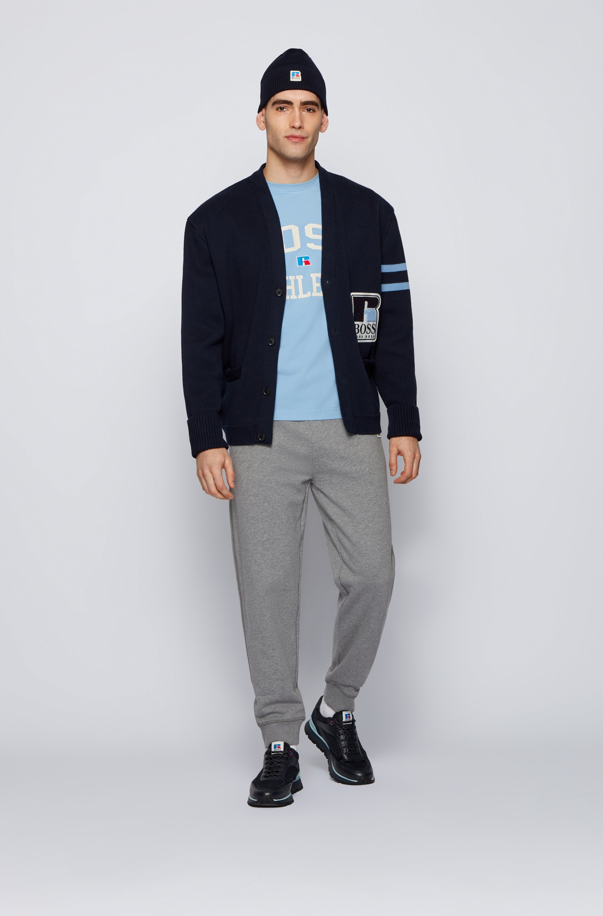 Unisex relaxed-fit cardigan in cotton with exclusive logo