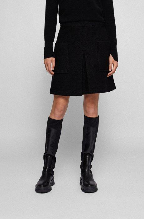 A-line slim-fit skirt in boiled wool, Black