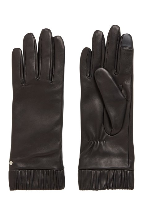 Lederhandschuhe mit durchgehendem Innenfutter und Logo-Niete, Schwarz
