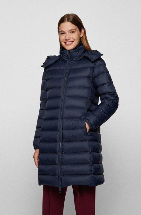 Water-repellent down jacket with detachable hood, Dark Blue