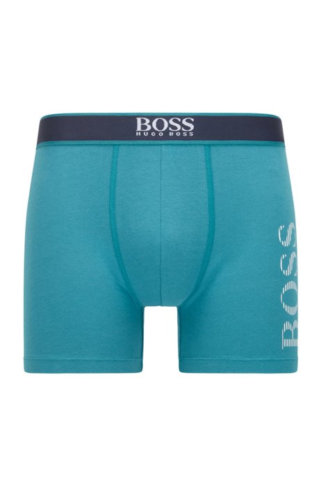 Stretch-cotton boxer briefs with striped logo, Turquoise